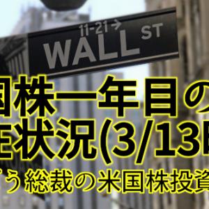 【米国株】まんぼう総裁の米国株一年目の現在状況(3/13時点)