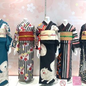 日本スピッツ柄の着物を見つけた!