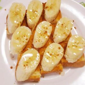 一口サイズでパクパクいける💕止まらないハニートースト(バナナ&シナモン)🍌🍯