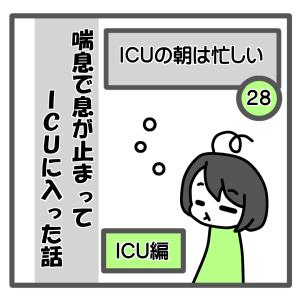 28、ICUの朝は忙しい【喘息でICUに入った話】