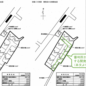 隣接地を道路用地として買収前提の開発法の分割想定図の合理性が問題視された裁決例(平成28年8月2日非公開裁決)