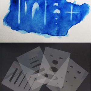 水彩画のミス修正・白抜きの裏技(自作の白抜き用テンプレート)