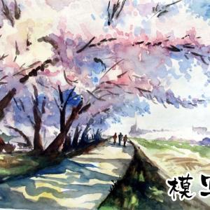2020.04  練習水彩画-柴崎春道さんの桜の風景画の模写
