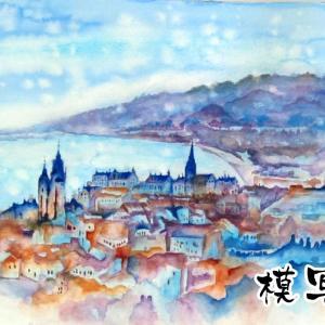 2020.02  練習水彩画-古山拓さんの「ニースの丘へ」風景画の模写