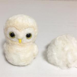 羊毛フェルト 夫婦フクロウ ウェルカムドールを作っています(01)