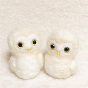 羊毛フェルト 夫婦フクロウ ウェルカムドールを作っています(03)