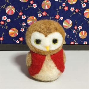 還暦祝い フクロウさん 赤いちゃんちゃんこ