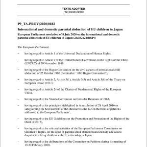 【共同親権問題】EUが日本人の子どもの連れ去り禁止等を本決議しました