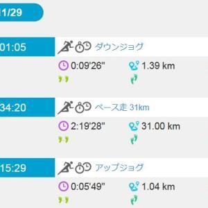 ペース走 31km