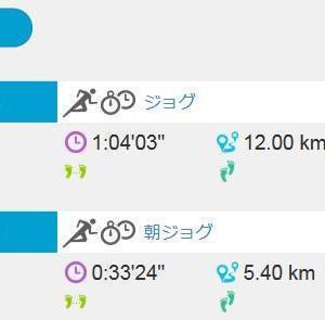 ジョグ 5km + 12km