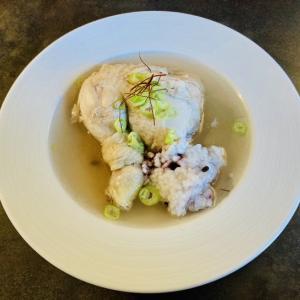 参鶏湯と餡子のおやつ