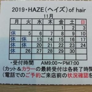 <定休日のお知らせ(2019・11月・第3)>