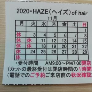 <定休日のお知らせ(2020・11月・第4)>