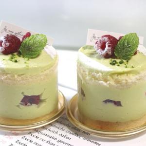 ピスタチオとラズベリーのケーキ