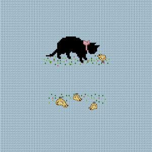 猫とヒヨコの図案