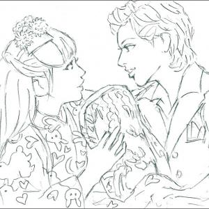 「はいからさんが通る」柚香光さんと華優希さんの下書き