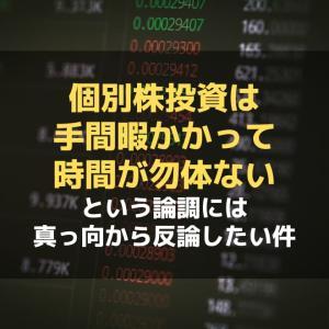 「個別株投資は手間暇かかって時間が勿体ない」という論調には真っ向から反論したい件