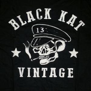 ★ブラック キャット カスタムズ Tシャツ Black Kat Kustoms Moto Skull 正規品