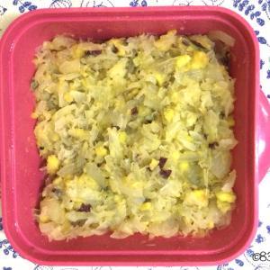 喉の乾燥予防と肌の潤いに!白キクラゲいっぱい!旬の野菜のさつま芋のポテトサラダ