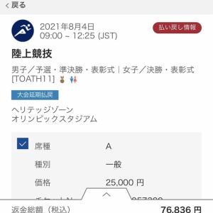 東京オリンピックのチケット払戻し