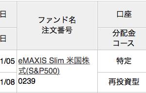 楽天スーパーポイントで「eMAXIS Slim 米国株式(S&P500)」を500円分、追加投資しました。