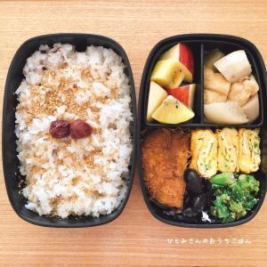 今日のお弁当〜小梅2個付けで気持ち豪華に😊