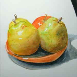 ラ・フランスとリンゴを描きました