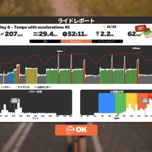 2021/6/30 4wk FTP Booster Week 1 Day 6 - Tempo with accelerations #1