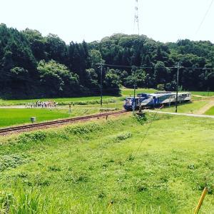 「山陰放送取材」8月1日、出雲八代駅地区トロッコ列車お見送り