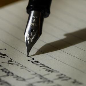 朝に書きます。