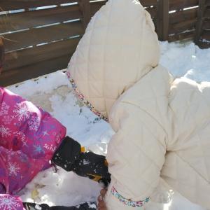 2020年最後の日に庭で雪遊び