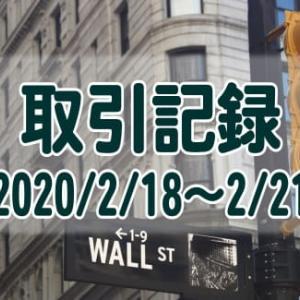 【取引記録】2020/2/18週の取引(利益$399、含み損$-3,136)
