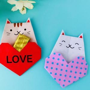 【折り紙】ハート&ねこポケット Heart& Cat Pocket(カミキィ kamikey)