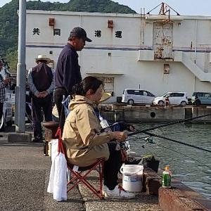 港でアジ釣り
