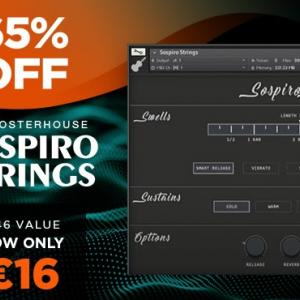 ゆったりしたストリングスセクションに最適な、4つの楽器を収録したストリングス音源、Ben Osterhouse「Sospiro Strings」が46%OFF、16€最安に!!!