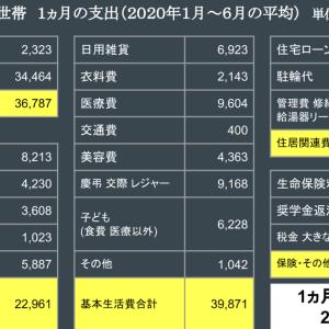 1ヵ月の家計支出 (4人世帯 2020年1月~6月の平均)