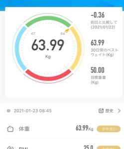 20日目 68.55kg→63.99g (-4.56kg)63kg台キター!!