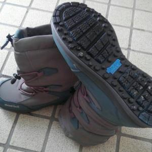 滑りにくい靴で雪道 散歩します