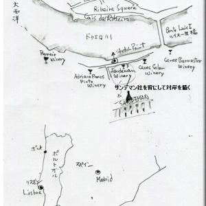 カイス・ダ・リベイラ地区(ポルトガルのポルト)のスケッチ