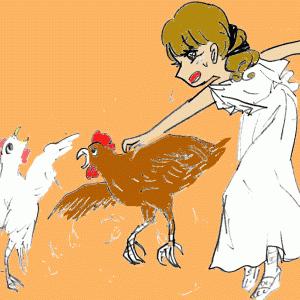 ③小学5年生が鶏を捕まえる女神 ギリシア神話を描いた。