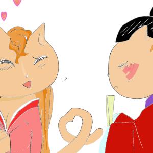 猫かぐや姫。小学5年が国語単元『竹取物語』の絵を描いた.