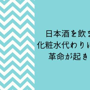 日本酒を化粧水代わりに顔に塗ったら革命が起きた話【130円で美肌革命】