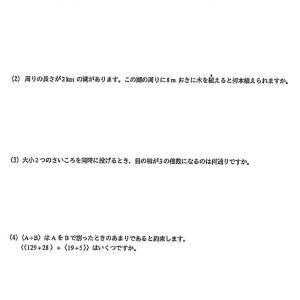 武蔵野大学中学校2021年度算数入試問題2.小問集合 問題