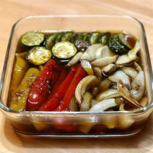 夏野菜の焼き浸し&めかじきソテー&キウイフルーツ