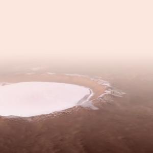 火星幅82000㍍のコロレフクレーター映像