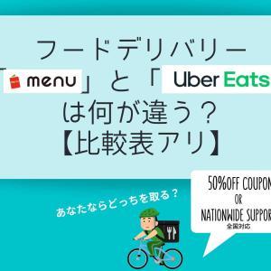 フードデリバリー「menu」と「UberEats」は何が違う?【比較表アリ】