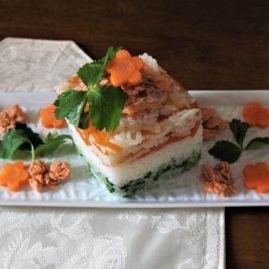 牛乳パックでひし餅型ちらし寿司*簡単ひな祭りレシピ*グルテンフリーおかず