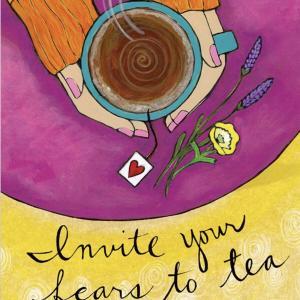 恐れの気持ちをお茶に招きましょう クレージーセクシーラブノートカード