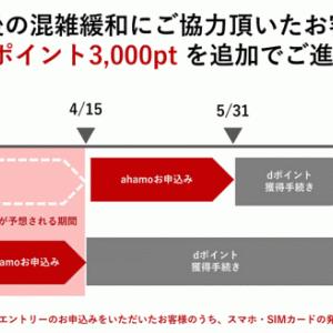 【スマホ】ドコモ、「ahamo」3月26日開始直後の混雑緩和への協力で、3000ポイント追加プレゼントしてくれるぞ!
