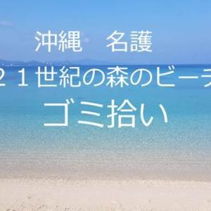 早朝ビーチゴミ拾い 沖縄 名護21世紀の森ビーチ えん坊&ぼーさん